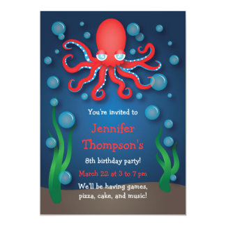 Under the Sea Red Octopus Birthday Invitations