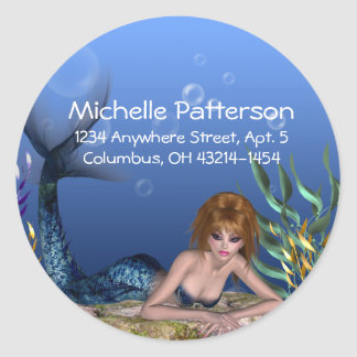 Under the Sea Redheaded Mermaid Address Labels Classic Round Sticker