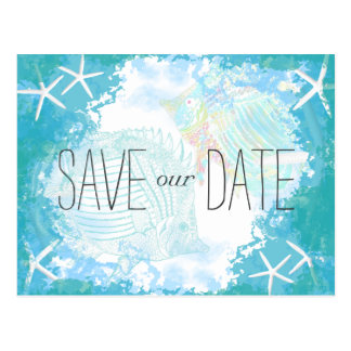 Under the Sea Save the Date Tropical Wedding Postcard