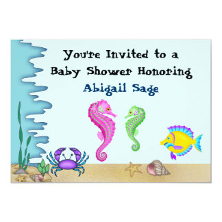 "Under the Sea Seahorse Neutral Baby Shower Invites 5"" X 7"" Invitation Card"