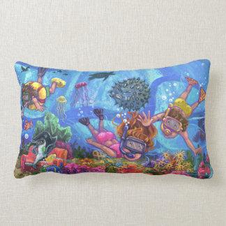 Under the Sea Snorkeling Kids Art Lumbar Pillow