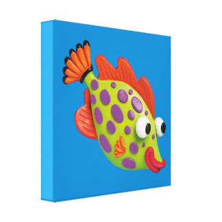 Under the Sea Spotted Fish Baby Boy Shower Nursery Canvas Print