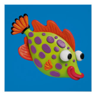 Under the Sea Spotted Fish Baby Boy Shower Nursery Poster