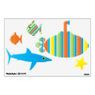 Under the Sea Submarine Shark Fish Boy Wall Decal