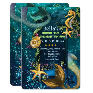 Under the Sea Swimming Birthday Party Invitations