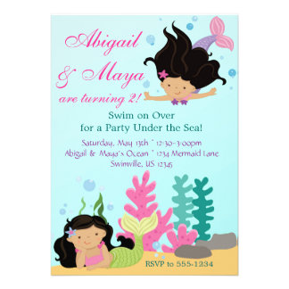 Under the Sea Twin Mermaid Girls Birthday Party Announcement