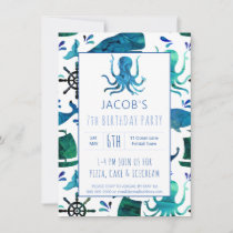 Under The Sea Watercolor Kids Octopus Birthday