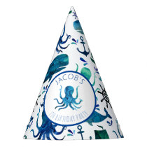 Under The Sea Watercolor Marine Nautical Birthday Party Hat