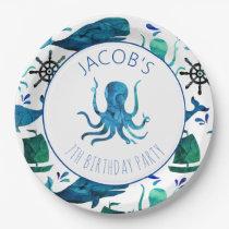 Under The Sea Watercolor Ocean Octopus Birthday Paper Plate