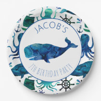 Under The Sea Watercolor Ocean Whale Birthday Paper Plate