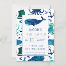 Under The Sea Watercolor Ocean Whale Kids Birthday