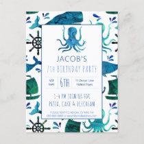 Under The Sea Watercolor Octopus Birthday Nautical Invitation Postcard
