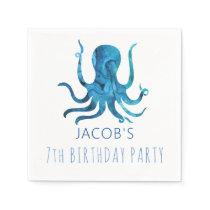 Under The Sea Watercolor Octopus Nautical Napkins
