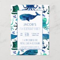 Under The Sea Watercolor Whale Birthday Nautical Invitation Postcard