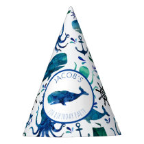 Under The Sea Watercolor Whale Nautical Birthday Party Hat