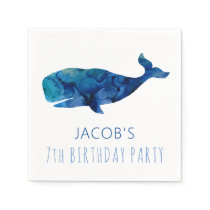 Under The Sea Watercolor Whale Nautical Napkins
