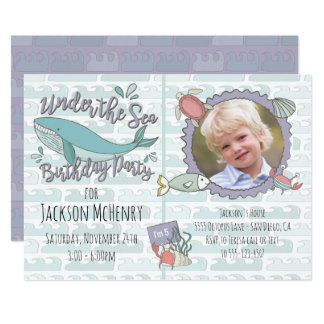 Under the Sea Whale Birthday Party Picture Card