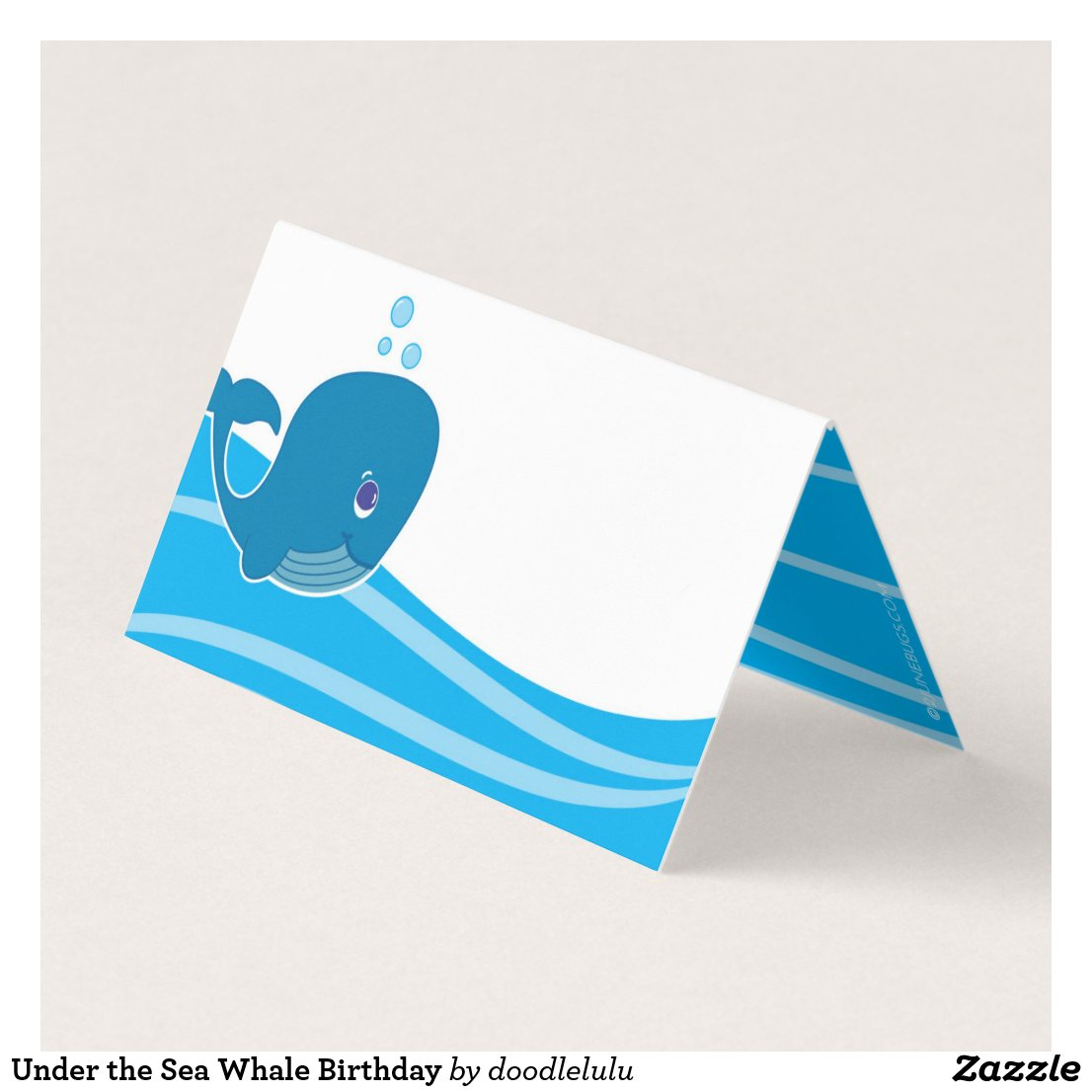 Under the Sea Whale Birthday Place Card
