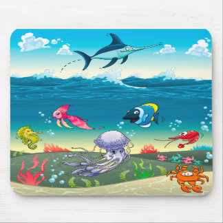 Under the sea with fish and other animals. mousepads