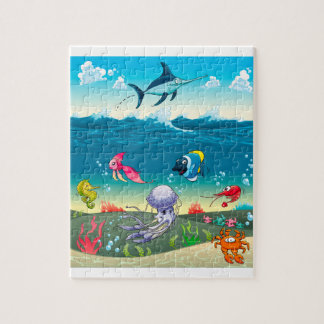 Under the sea with fish and other animals. jigsaw puzzle