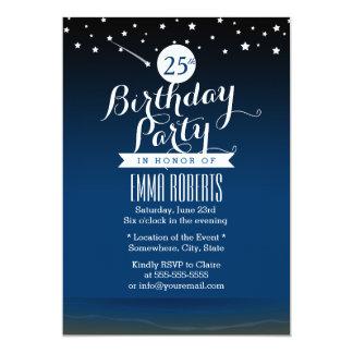 "Under the Stars Beach Birthday Party 5"" X 7"" Invitation Card"