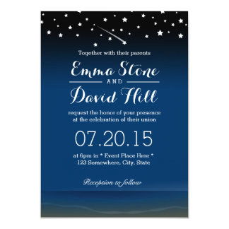 Under the Stars Beach Wedding Card