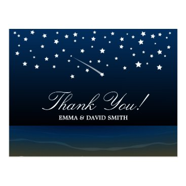 Beach Themed Under the Stars Beach Wedding Thank You Cards