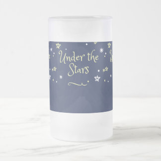under the stars frosted glass beer mug