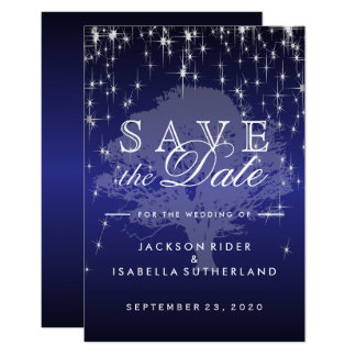 Under the Stars in Dark Blue - Save the Date Card