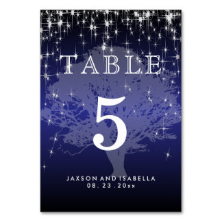Under the Stars in Metallic Dark Blue - Table Card