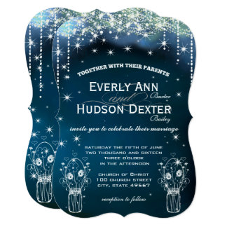 Under the Stars Mason Jar Wedding Card