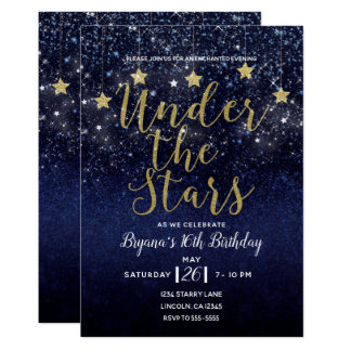 Under The Stars Starry Night Gold Blue Prom Party Card