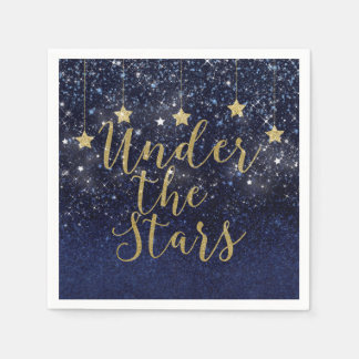 Under The Stars Starry Night Gold Blue Prom Party Napkin
