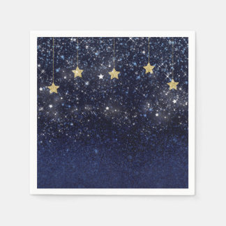 Under The Stars Starry Night Gold Blue Prom Party Paper Napkin