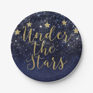 Under The Stars Starry Night Gold Blue Prom Party Paper Plate