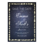 Under the stars string light glow save the date card