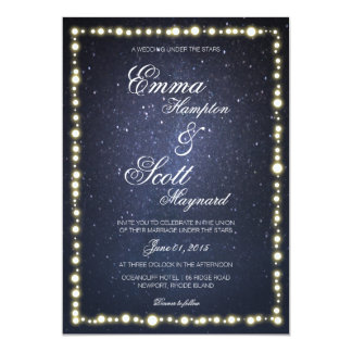 Under the stars string light glow wedding invites