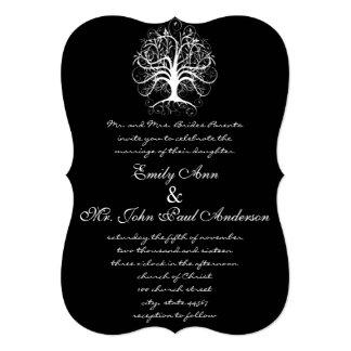 Under the Stars Tree Black Wedding Invitation