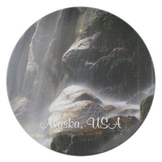 Under the Waterfall; Alaska Souvenir Dinner Plate