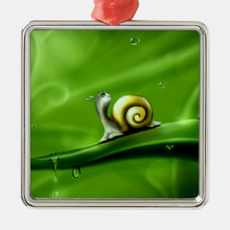 UNDER THE WEATHER (cute snail) ! Square Metal Christmas Ornament