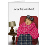 Under The Weather Woman Drawing Get Well Soon Card