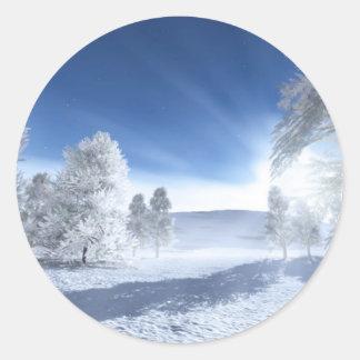 Under the Winter Sun Round Stickers