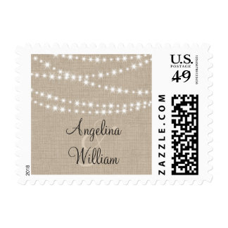 Under Twinkle Lights on Burlap Bride Groom Stamp Postage Stamps