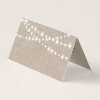 Under Twinkle Lights on Burlap Folded Place Cards