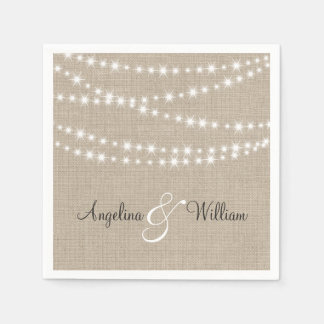 Under Twinkle Lights on Burlap Napkin