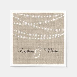 Under Twinkle Lights on Burlap Napkin Paper Napkin