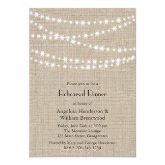 Under Twinkle Lights on Burlap Rehearsal Dinner Card