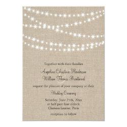 Under Twinkle Lights on Burlap Wedding Invitation 5