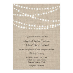 Under Twinkle Lights on Burlap Wedding Invitation 5