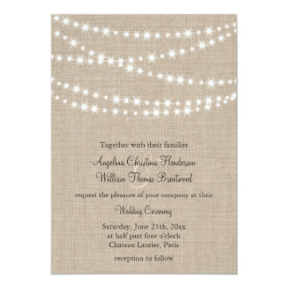 Under Twinkle Lights on Burlap Wedding Invitation Invitation
